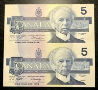 1986 $5 BANK OF CANADA UNCUT SHEET OF 2  PREFIX ANU - UNC+