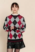 Red Argyle Sweater with Removeable Collar Preppy Jumper BNWT Oversized Y2K 80s