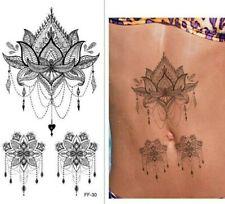 3x Lotus Flower Mandala Designs Temporary Tattoo Women Girl Arm Leg Press on