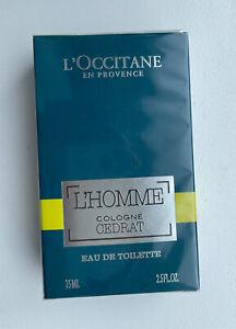 L'Occitane L'Homme Cologne Cedrat 75ml Eau De Toilette Spray Men's EDT Sealed