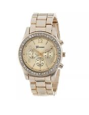 GENEVA CRYSTAL LADIES WOMEN GIRL GOLD STAINLESS STEEL QUARTZ WRIST WATCH