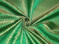 "BROCADE FABRIC Green & Metallic Gold 44"""