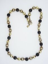 VERONESE ITALY STERLING SILVER 18k GOLD CLAD SMOKY QUARTZ QVC NECKLACE ~ 24""