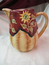 Vintage WCL large Pitcher basket weave with Sunflowers