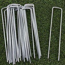 100x Metal Galvanised Artificial Grass Turf U Pins Garden Securing Pegs Staples