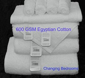 PURE WHITE LUXOR 600GSM 100%  EGYPTIAN COTTON CHOICE OF 3  SIZE TOWEL BALE SETS