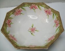 Large Bowl Pink and White Flowers Rim Raised Yellow Designs Nippon Vintage