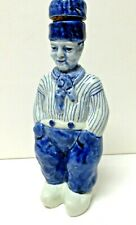 "Antique Delft Figural Boy Decanter/Bottle with Lid Cork- 8"" Tall & Signed"