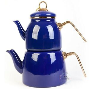 Tea Pot Set Turkish Traditional Enamel High Quality Made in TURKEY