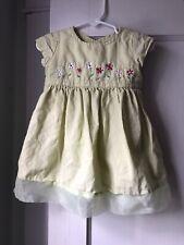 Gymboree Green Embroidered Floral Cotton Linen Blend Dress Size 6-12 Months