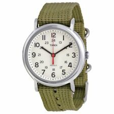 Timex T2N651, Men's Weekender Olive Fabric Watch, Indiglo