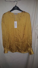 MARKS AND SPENCER GOLD/OCHRE COLOURED SILKY BLOUSE NEW / TAGS SZ 10 29.50 ON TAG