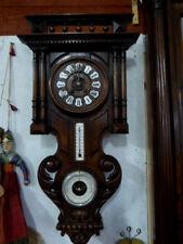Horloge carillon,Baromètre,Thermomètre en bois sculpté Forêt noire,XIXème siècle