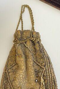 Antique Edwardian Silk Beaded Drawstring Bag Purse  WW213