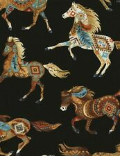 Southwest, Turquoise, Terracotta Horses, Black, Timeless Treasures (By 1/2 Yard)