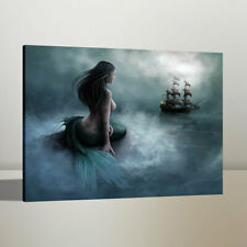 Oil Painting Home Wall Decor Mermaid and Pirate Ship Canvas Art Print 24x30