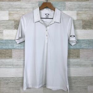Oakley Golf Polo Shirt White Short Sleeve Casual Activewear Womens Size Large