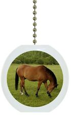 Horse in Pasture Solid Ceramic Ceiling Fan Light Lamp Pull