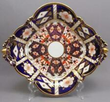 Vtg Royal Crown Derby Imari Footed Porcelain Square Basket Bowl Acorns Tiffany