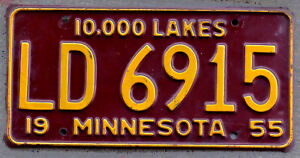 1955 Orange on Maroon Minnesota License Plate LD = St. Paul [Mailout]