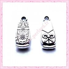 4pcs tibetan silver 2sided Matryoshka Russian Doll pendant G2129