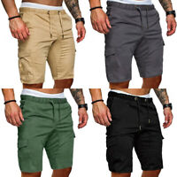 Men Fashion Solid Summer Beach Drawstring Shorts Casual Cargo Pants Trousers