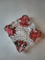 """Beautiful Vintage Clear Glass & Red Ashtray 4.5"""""""