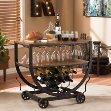 Stylish Wine Bar Cart with Bottle Glass Storage 15 Glasses 10 Bottles Wood Metal
