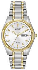 Citizen Eco Drive Men's White Dial Two Tone Bracelet 37mm Watch BM8434-58A