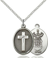925 Sterling Silver Cross Air Force Military Soldier Catholic Medal Necklace