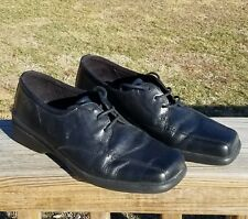 ECCO Soft Size 41 Black Leather Square Toe Lace Up Oxford Womens Shoes US Sz 10
