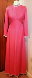 VTG 70's Carnegie of London Raspberry Pink/Silver Trim  Maxi Evening Dress 12
