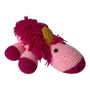 Handmade Amigurumi Crochet Pink Unicorn Stuffed Animal Plushie Toy
