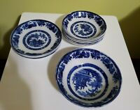 Royal Doulton Burslem Flow Blue - Madras Pattern - 9 pieces-made 1900