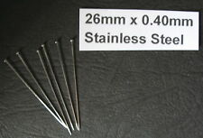 26mm x0.40mm Sml Head 400pin STAINLESS STEEL ENTOMOLOGY / INSECT PINS SOLID HEAD