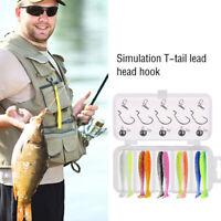 25pcs Silicone Baits with Lead Jig Head Fishhook Offset Hooks Worm Carp Kit