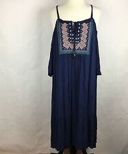 Luxology Women Dress Size 24 Navy Embroidery Cold Shoulder Short Sleeve NWT
