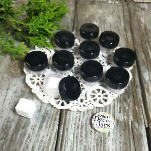 50 Micro Jars 1/8 oz Makeup Skincare Container 2801 Black Screw cap Reusable USA