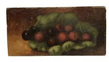 "American Fall River School 1870's ""Cherries In A Leaf "" Still Life"