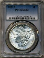 1887-S Morgan PCGS MS-63 Bright White Silver Dollar Coin Nice San Francisco Mint