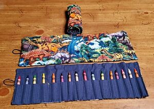 Handmade Dinosaur Crayon Roll-Up Organizer~ 16 Crayons INCLUDED. Fast Shipping!