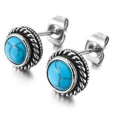MENDINO Men's Women's Stainless Steel Stud Earrings Classic Round Turquoise Blue