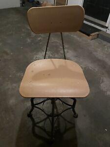 Vintage TOLEDO Industrial Drafting Stool/Chair Adjustable Swivel Metal/fiberglas