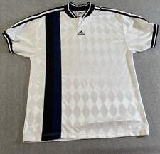 VINTAGE Adidas Shirt Adult Medium White Soccer type diamond print Mens 90s*