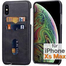 IPHONE Xs Max Protection Imitation en Cuir Coque Arrière Étui + Kartenslots Noir