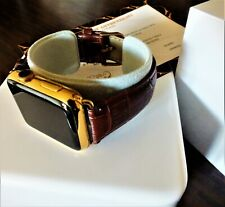 24ct Gold Plated 42MM Apple Watch Crocodile Leather Style Brown Band 24K
