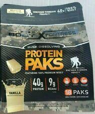 Body Fortress Whey Protein Powder Paks 40g Protein Vanilla 18 Packs Exp 9/20