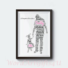 Personalised Dad Daddy and Daughter A4 Word Art Print Christmas Gift