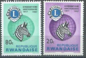 Rwanda, 1967, Sc# 233-234, Lions International Fund, MLH