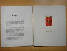 1850 circa-Famiglia BESOZZI DI MILANO-ARALDICA-TESTO E STEMMA A COLORI+